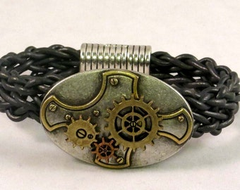 Slate gray leather braided steam punk bracelet with moveable parts