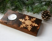 Snowflake Wood Candle Holder - Rustic Home Decor