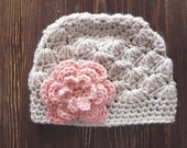 Girls Hat, Linen and Light Pink Girl Hat, Newborn Girl Hat, Crochet Baby Hat, Crochet Girls Hat, Baby Girl Hat, Baby Hat for Girls