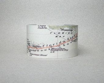 Florida Keys Map Cuff Bracelet From Key West to Key Largo Unique Gift for Men or Women
