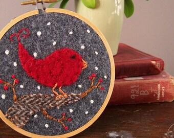 Holiday Bird Embroidery Hoop