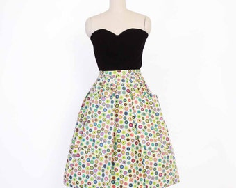 Vintage 50s Full SKIRT / 1950s Bright Floral Nelly De Grab Skirt with Big Pockets XS