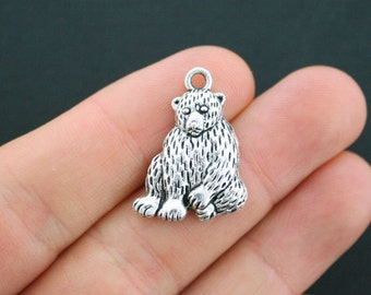 8 Bear Charms Antique Silver Tone Terrific Details - SC5081