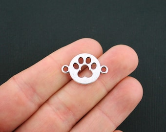 10 Dog Paw Connector Charms Antique Silver Tone 2 Sided - SC1107