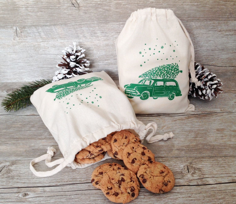 Christmas gift bag cotton favor natural wrap holiday