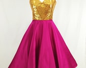 Gold Sequin and Pink Satin Strapless Party Dress. With a full circle skirt, 1050's inspired, New Years Eve, Christmas