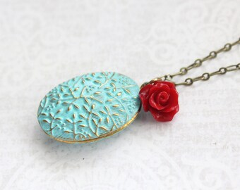 Aqua Patina Locket Necklace Photot Locket Pendant Red Rose Charm Floral Picture Locket Romantic Bridesmaids Gift for Mom Keepsake Jewelry