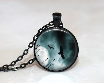 Glass Tile Necklace Eagle Necklace Moon Necklace Moon Jewelry Glass Tile Jewelry Eagle Jewelry Bird Jewelry Black Necklace Black Jewelry