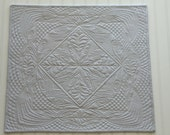 Whole Cloth Quilted Wall Hanging Table Topper Art Quilt Heavily Quilted Light Gray
