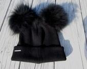 Fur Hats Raccoon Pom Pom Bobble Hat Black Watch Cap Skullcap Knit Cuff Beanie Cotton Thick Warm Winter Hat Animal Ears A1845 -P