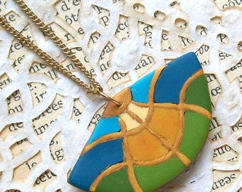 Polymer clay fan necklace art deco Gaudi inspired pendant necklace in green, teal and yellow