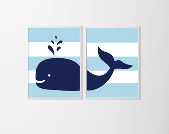 Whale Nursery Art , Nautical Nursery Wall Art , Navy Baby Blue Nursery Wall Decor , Beach Nursery Art , Big Boy Room Wall Art Beach