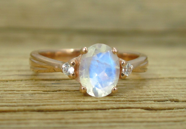 rainbow moonstone ring moonstone wedding ring sets Moonstone Antique Engagement Ring 18K Oval Moonstone Rose Gold Ring Antique Style Ring Engagement Ring Antique Ring Rose Gold Vintage