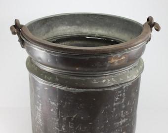 Vintage Copper Pail Bucket Pot Cauldron Wrought Iron Handle Distressed Primitive Rustic Garden Planter Decor Planter Farm Barn Wedding Decor