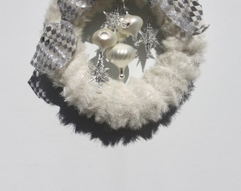 Christmas Wreath Winter White And Silver Snowflake White Ornaments Hand Crafted Hand Made Shabby Cottage Style Wreath OOAK