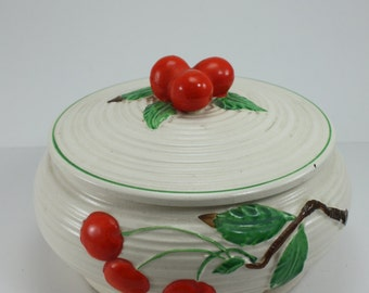 Vintage Ceramic Pottery Casserole Dish With Lid Lidded Dish Raised Red Cherry Pattern Hand Painted Made In Japan