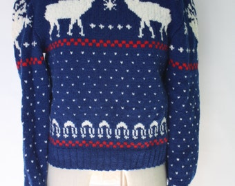 Vintage Hand Knit Wool Sweater Nordic Ski Pullover Reindeer Red White Blue