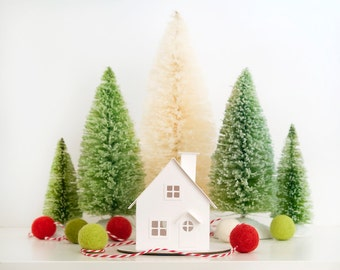 Christmas Ornament Putz House DIY Kit Cabin Glitter House Christmas Decoration Paper Craft Kit
