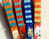 DOG CLOTHESPINS painted magnets orange blue green stripes white dog brown dog yellow lab