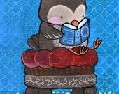 Reading Owl Woodland Nursery Original Painting Kids Wall Art Artwork for Children Cute Whimsical Owl Reading Book Baby Room Decor