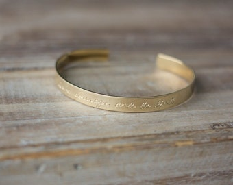 Personalized Gold Brass Cuff Bracelet - Hand Stamped Custom Cuff Bracelet - Custom Phrase Bracelet - Have Courage And Be Kind