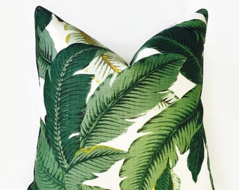Palm Print Navy Piping Pillow