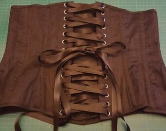 FULLY CUSTOM - Black silk longline underbust corset - Free shipping