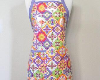Womens Waterproof Utiltity Apron Crafters Apron in Moroccan Pastel Design