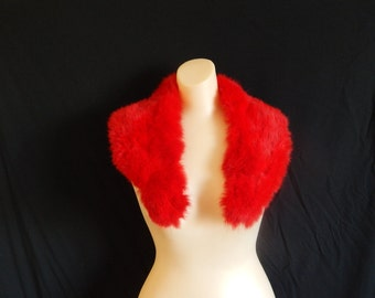 Elegant vintage 50's real fur cherry red dyed rabbit fluffy collar scarf bombshell pin up coat jacket cardigan