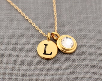 Gold April Birthstone Necklace, Diamond Clear Rhinestone Crystal Jewelry, Gold April Birthday Gift, Gold Initial Necklace