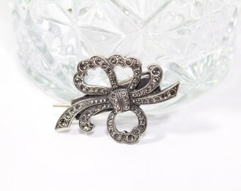 Vintage Antique Silver Barrette of Bow in Black Diamond Swarovski Crystal
