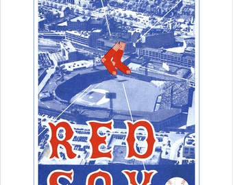 Boston Red Sox - 1957 Program and Scorecard cover print - 8x10, 11x14 or 16x20 - Vintage baseball print - Boston Red Sox - Fenway Park
