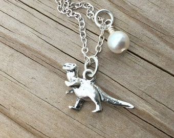 Dinosaur Necklace -Dinosaur Charm with an accent bead in your choice of colors