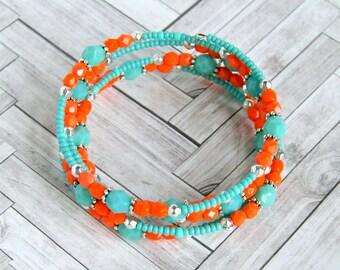 beaded bracelet, memory wire, aqua tangerine beads,