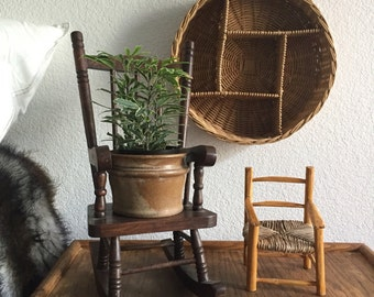 miniature woven wooden toy rocking chair / plant holder