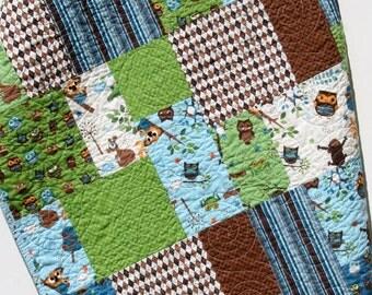 SALE Owl Quilt Baby Boy Blanket Hooty Hoot Blue Blanket Monkey Forest Animals Modern Big Block Pattern Nursery Bedding Brown Blue Navy