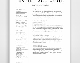 resume template etsy - Resume Templated