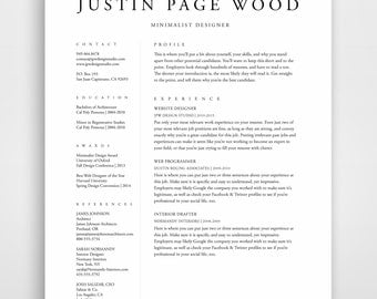 Traditional Resume Template Elegant Resume Classic Resume