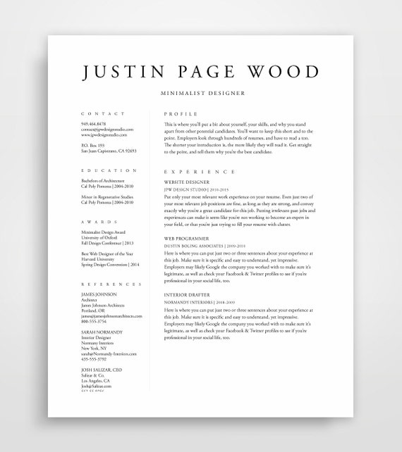 resume template resume professional resume template cv template instand download simple resume template minimalist resume modern - Minimalist Resume Template