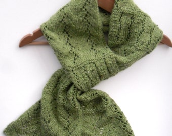 "Green lace scarf,  lace winter / spring accessory ,   7' 6""  long  hand knitted wool scarf , gift for her , mothers day gift"