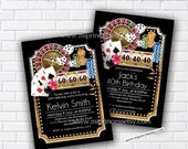 Casino Invitation, Poker Playing Card Gold birthday invitation, for any age 30th 40th 50th 60th 70th 80th card 598