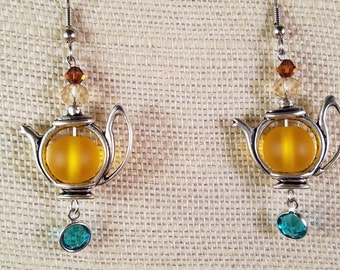 Jewel Tone Teapot Earrings