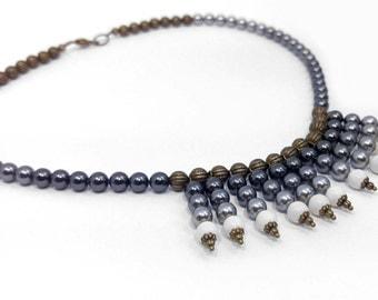 Light & Dark Grey Swarovski Crystal Pearls on Gold-Plated Brass Choker Necklace 1033