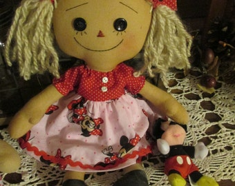 Handmade  Raggedy Ann doll loves Mickey with her doll