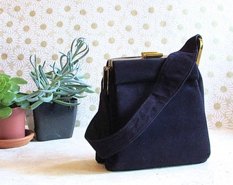 HOW SUEDE IT Is Vintage 40s Purse   1940s Evening Deep Blue Purple Suede Leather Bag   Handbag w/ Brass Hardware & Satin Lining   Swing Vlv