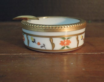 Vintage Porcelain French Limoges Ashtray / Trinket Dish / Napoleon Bee / Gold Encrusted / Ring Dish  / Candy Dish