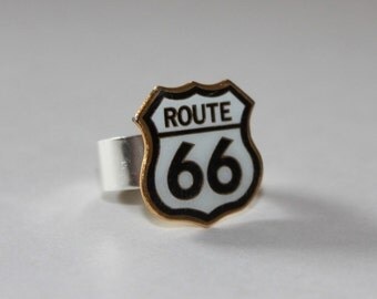 Upcycled Ring ~ Vintage Route 66 Pin