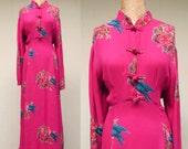 Vintage 1980s Dress / 80s Does 40s Fuchsia Rayon Bias Cut Maxi Dress / Large