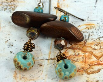 Earthy Summer Blue Brown Handmade Lampwork Earrings Rustic Earrings