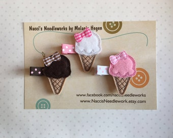 Chocolate, Vanilla & Strawberry Ice Cream Cone Hair Clips